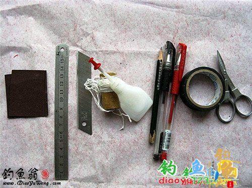 首先是工具的准备:壁纸刀、棉线、剪刀、砂纸(粗细都要有)、笔、尺子、胶带、502胶水等