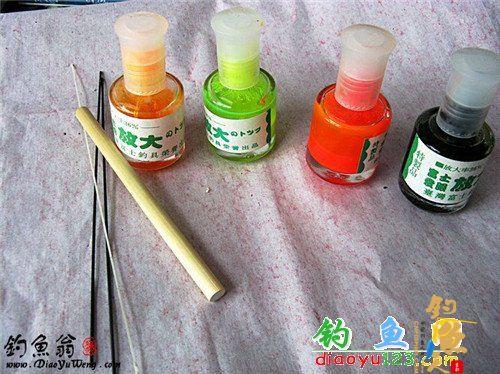 材料的准备:南荻(要求园、直)、漂尾漆(红、橙黄、绿、黑)、白乳胶、漂尾(玻纤帮)、漂脚(碳纤棒