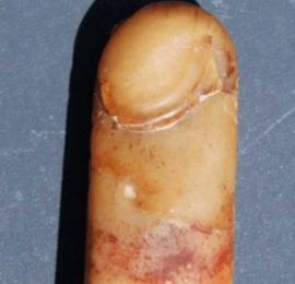 """小伙外出钓鱼发现半截型似""""手指头""""的东西,属古代皇宫内臣专用的玉石"""